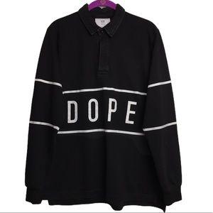 DOPE Black Horizontal Stripe Graphic Button Shirt